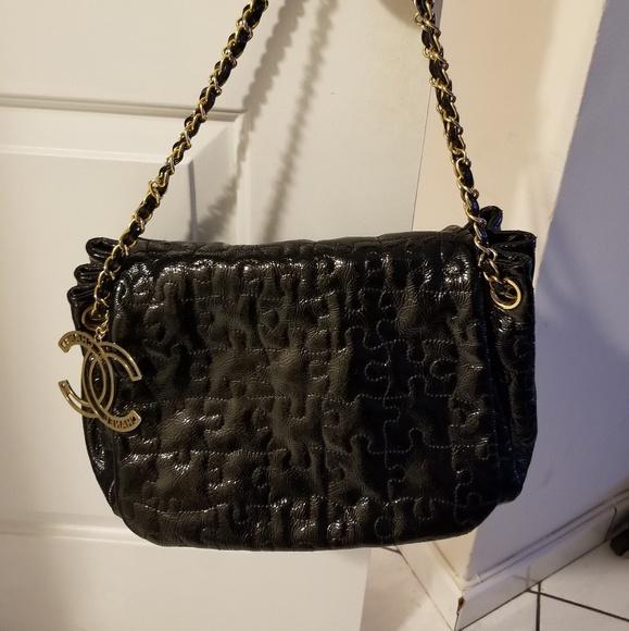 CHANEL Bags   Puzzle Black Patent Leather Bag   Poshmark a83bc3e0e5